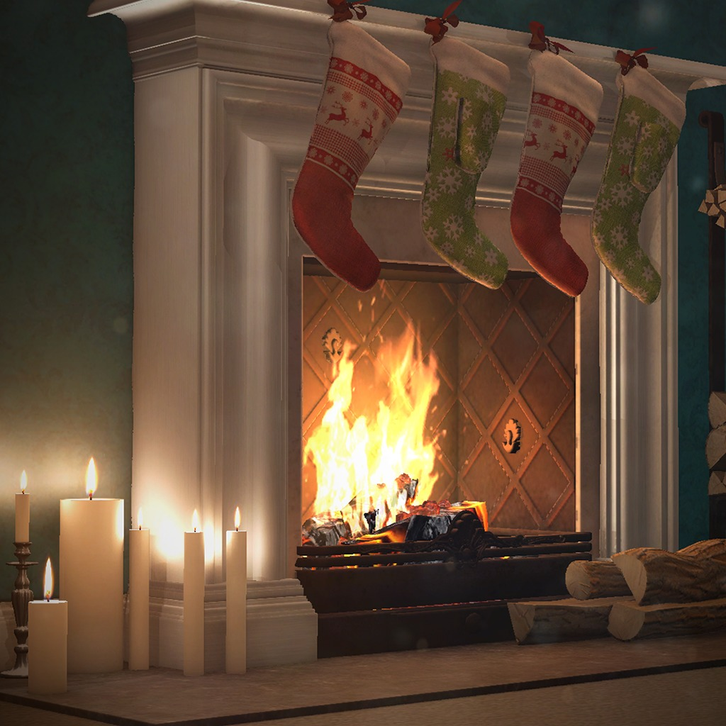 3D Festive Fireplace Dynamic Theme