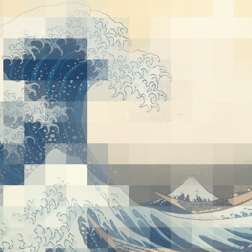 Afloat in the Great Wave off Kanagawa Pixels